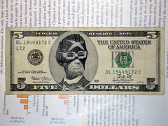 Racer X Lincoln (Joe D!) Tags: money d joe x lincoln government presidents tender defaced dollars racer joed refacing