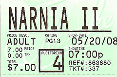 Ticket stub from Prince Caspian