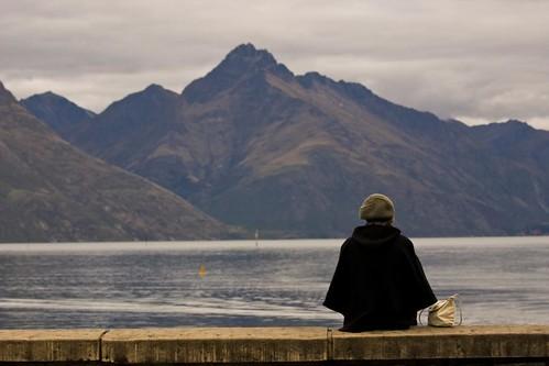 Mountain lake and Girl
