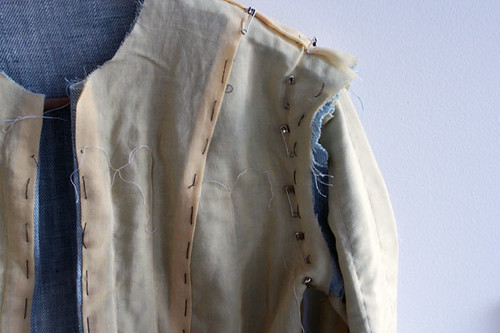 linen jacket sleeve pinned