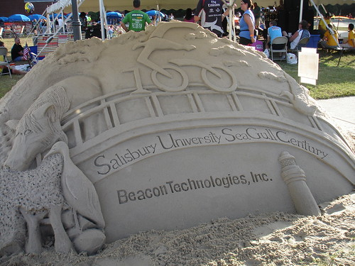 Sand sculpture at the finish