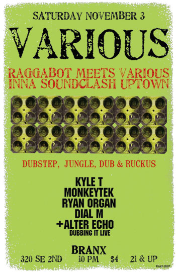various dubstep, jungle, dub, ruckus show in Portland Oregon on November 3, Branx (11-3)
