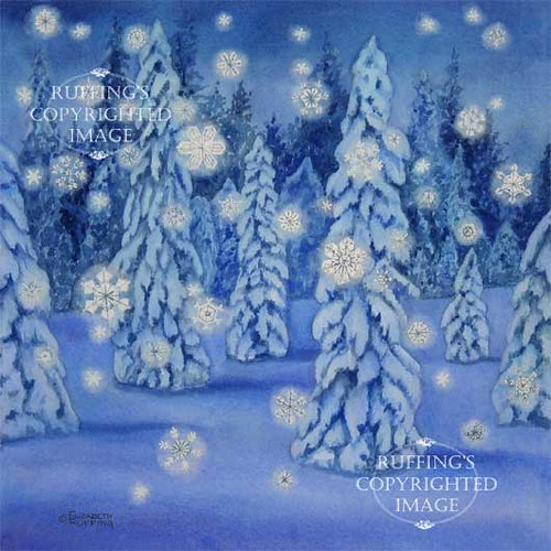 """Snowy Night"" ER18 by Elizabeth Ruffing, Snowflakes in a night forest print"