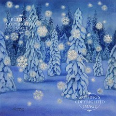 """Snowy Night"" Snowflakes in a nighttime forest, Print by Elizabeth Ruffing"