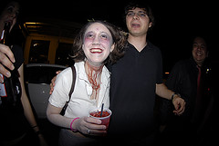Is she drinking a Zombie? (rekanize) Tags: street new autumn party fall halloween night french nikon orleans fisheye decatur quarter 105 d200 donovan f28 dervish 2007 marigny whirling whirlingdervish decaturst fannon rekanize rockthediscontent