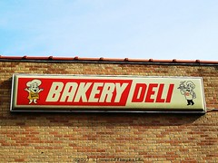 Bakery Deli Sign (ilovecoffeeyesido) Tags: food brick sign baker bluesky retro eat chef bakery deli grocerystore brickbuilding iga retrosign superchef superbaker brookvillein redandwhtie