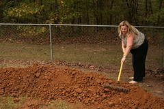 Nicole, finishing the grave