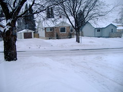 Snow in the front of the house