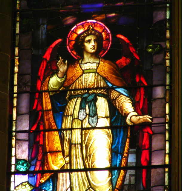 Closeup of center stained glass window