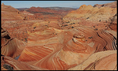 """The Wave"", overlook (rickz) Tags: travel color beautiful beauty landscape utah ut sandstone scenery colorful hiking roadtrip hike 2007 kaleidoscopic thewave rockformation pariacanyon coyotebuttes grandcircle vermilioncliffs vermilioncliffsnationalmonument swirlingstrata gcrt2007d9"