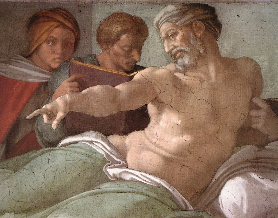 MICHELANGELO, Buonarroti Punishment of Haman (detail), 1511