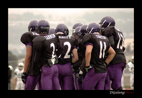 Riordan Football Defensive Huddle
