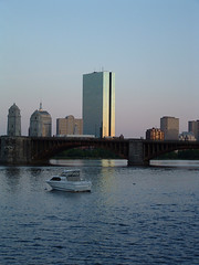 Boston Skyline (bawoodvine) Tags: bridge sunset summer boston buildings boats massachusetts bridges sunsets backbay streamsandrivers