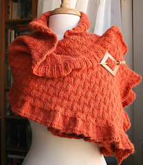 The Rococo Shawl - Hand Knit Wool & Llama Shawl (Elena Rosenberg Wearable Fiber Art) Tags: orange wool fashion tangerine scarf ruffles knitting warm long handmade llama knit handknit style wrap shawl opulent stylish accessory luxurious etsyfast tickledpinkknits tangerinetango