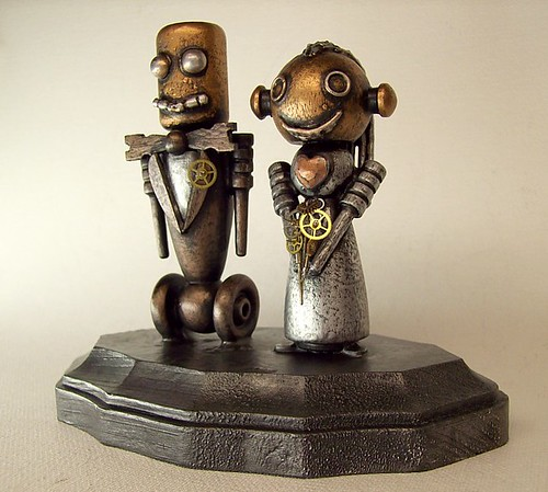 Robot Bride and Groom Wedding Cake Topper Wood Statues with Base 6