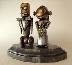 Robot Bride and Groom Wedding Cake Topper Wood Statues with Base 6 (Builders Studio) Tags: wood wedding fiction people sculpture man cute art classic statue cake metal trek toy person star bride robot couple punk comic technology veil geek mechanical tech top metallic space painted decoration machine wed artificial science retro steam nasa replica tuxedo formalwear ia figure divorce scifi pulp wars bouquet gown bridal figurine centerpiece gears tux marraige marry base broom android prop mecha droid topper geekery bot mech robo automaton steampunk robotic cyclon