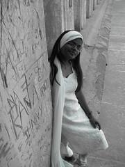 Bollywood 60's style (abhinav21) Tags: old city portrait india white black building history monument girl beauty up fashion wall lady scarf vintage blackwhite grafitti god indian muslim prayer religion belief maze bollywood ethnic spectacles labyrinth lucknow dua salwar edifice mannat uttarpradesh oldlucknow nawab dupatta salwarsuit chunri musalman awadh bhoolbhulaiyya
