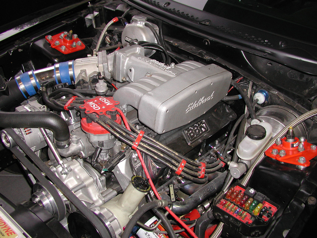 Ford Mustang with Edelbrock performer intake manifold, BBK cold air, MSD Ignition and more!