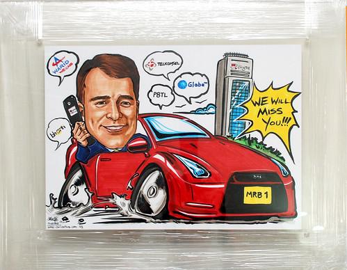Caricature Deloitte Singtel Mobile Nissan GTR acrylic frame