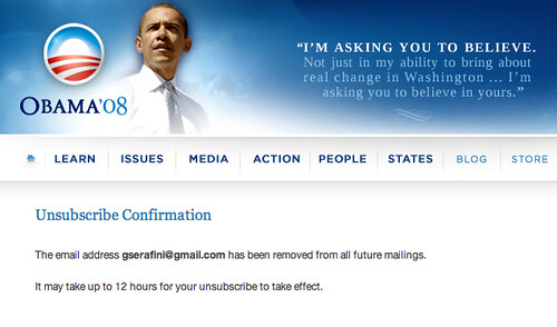 I BELIEVE I CAN UNSUBSCRIBE.  Result of Barack Obama's FAIL vote on FISA.