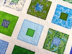blue green quilt detail