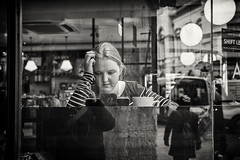 the stripey girl in the window (Daz Smith) Tags: dazsmith canon6d bw blackwhite blackandwhite bath city streetphotography people candid canon portrait citylife thecity urban streets uk monochrome blancoynegro mono coffeeshop window reflection woman girl thought contemplation