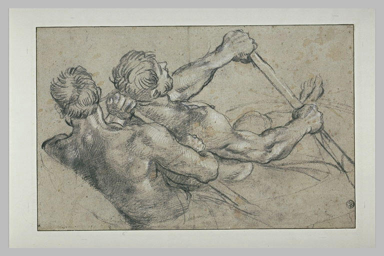 Annibale Carracci (1560-1609) Study of Two Rowers (c. 1600) White and black chalk on grey paper. 24.8 by 38.6 cm. Musée du Louvre, Paris.