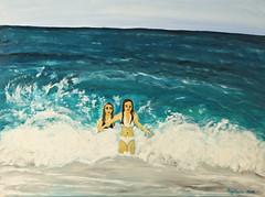 """""""meine Mädels im Spiel der Wellen"""" Acryl auf Leinwand 80 x 60 (colore2010) Tags: meer menschen blau landschaft acryl mädels malerei"""