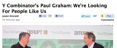 Two white guys: Charlie Rose interviews Paul Graham at TechCrunch Disrupt
