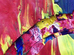 TRIPLE SLICE CURVE DIGOUT (ScribbleBeth) Tags: pink blue red sculpture white macro green lines rose yellow closeup cutout scarlet landscape paint acrylic cut smooth layers rough marbled sculptural enriched scored richcolour vivic