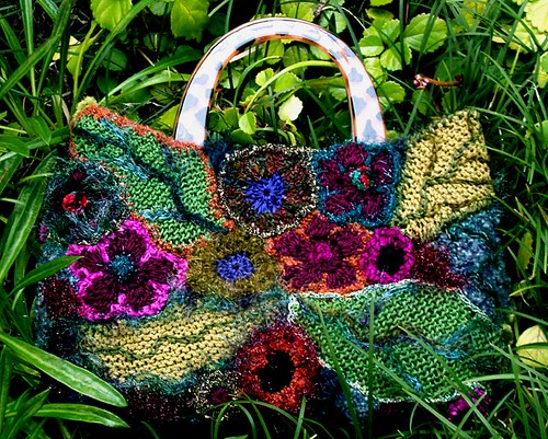 flower garden freeform handbag