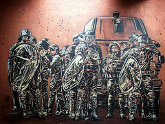 C215 - Riot scene (C215) Tags: streetart paris france art french graffiti stencil cops police christian 1984 pochoir bouclier gendarmerie masacara szablon securit emeute c215 shiled schablon gumy piantillas guemy scuritarisme