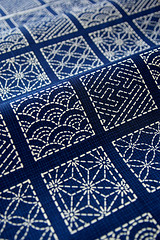 Fabric with Japanese traditional design (karaku*) Tags: blue texture japanese design pattern pentax antique traditional fabric etsy textiles k100d monyou