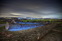 (Andreas Reinhold) Tags: road longexposure blue trees tree night dark landscape scenery flash country trunk bergischesland bole mettmann strobist andreasreinhold