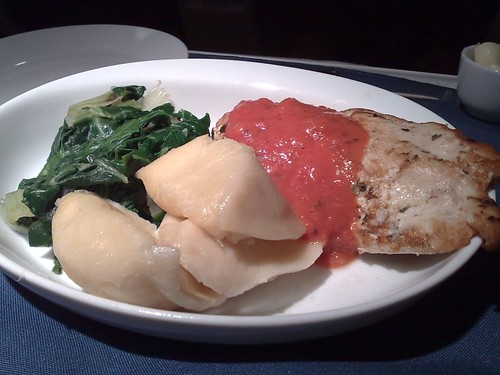 Spice-rubbed chicken with vodka sauce, potato pierogis, and Swiss chard