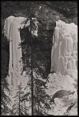 frozen waterfalls -johnston canyon a (withrow) Tags: bw banff frozenwaterfall johnstoncanyon