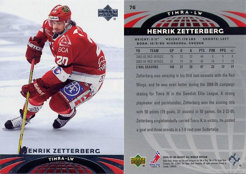 Henrik Zetterberg, Timra IK, Swedish Elite League, Detroit Red Wings, 04-05 Upper Deck, All-World hockey, hockey cards