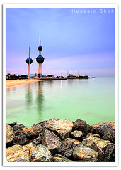 Kuwait Towers [HDR} (Hussain Shah.) Tags: blue sea sky green water clouds d50 nikon rocks towers sigma kuwait 1020mm hdr kuwaiti shah hussain aplusphoto muwali