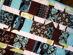 brown blue quilt detail