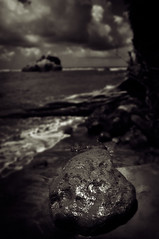 Rock on an unnamed beach (theeric11711) Tags: bw white black nikon d100 mydominicabwproject