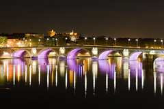 Pont Neuf (ole) Tags: bridge light france reflection night river europe purple nightshot background violet clear toulouse garonne longshot explored 2pair