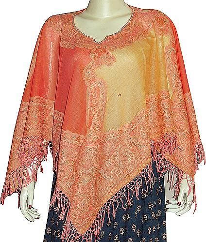 Poncho Shawls in Jacquard Designs Wool Fabric Handcrafted Women's Clothing from India (shalincraft-india)