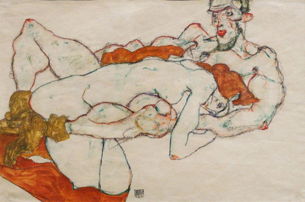 Egon Schiele, Liebespaar [Lovers], 1913