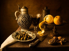 Dutch Still Life (after Pieter Claesz) (kevsyd) Tags: stilllife glass dutch lemon kevin walnut best jug tazza artlibre goldenphotographer kevinbest