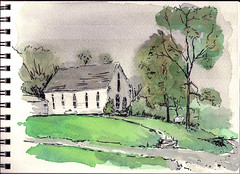 caney fork baptist church, somewhere around georgetown, ky (mike thomas) Tags: church architecture pen watercolor sketch flickr drawing kentucky line wash brushpen danielsmith lineandwash artbookklub