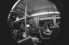 74640008 (mirrorballet) Tags: sanfrancisco blackandwhite bus graffiti 14 fisheye canonae1program urbanyouth skeletongloves