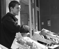 French fruit man (K8rina) Tags: blackandwhite sunlight france vegetables fruit frankreich market alsace elsass saverne elsa fruitman