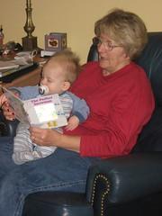 Grandma reading Ian a bedtime story.