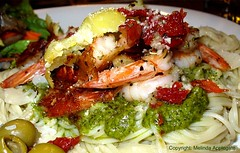 Homemade Grilled Shrimp Dinner with Garlic & Pesto Sauce (Scandblue) Tags: food dinner tomato comida tasty shrimp pasta delicious olives scrumptious grilled pesto internationalfood