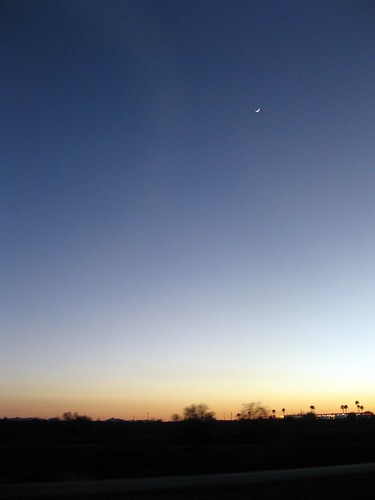 Crescent Moon, Desert Sunset